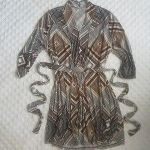 Tie waist midi dress long sleeve
